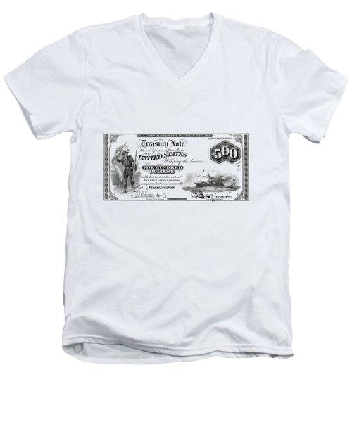 Men's V-Neck T-Shirt featuring the digital art U.s. Five Hundred Dollar Bill - 1864 $500 Usd Treasury Note  by Serge Averbukh
