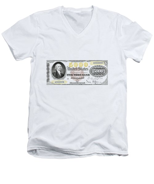 Men's V-Neck T-Shirt featuring the digital art U.s. Five Thousand Dollar Bill - 1878 $5000 Usd Treasury Note  by Serge Averbukh