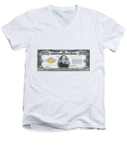 Men's V-Neck T-Shirt featuring the digital art U.s. Ten Thousand Dollar Bill - 1934 $10000 Usd Treasury Note by Serge Averbukh