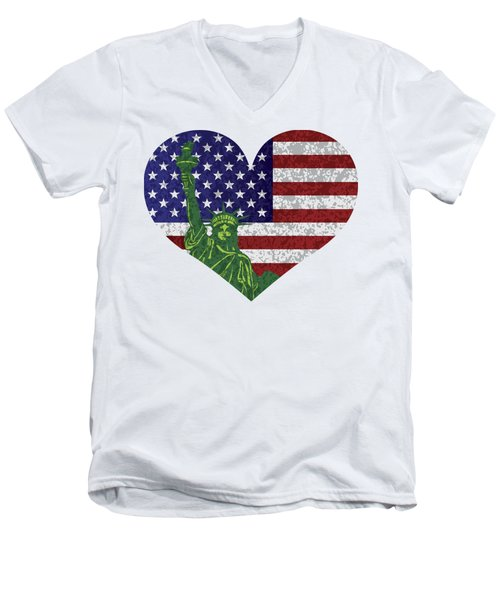 Usa Heart Flag And Statue Of Liberty Men's V-Neck T-Shirt by Jit Lim