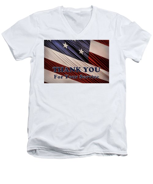 Men's V-Neck T-Shirt featuring the photograph Usa Military Veterans Patriotic Flag Thank You by Shelley Neff