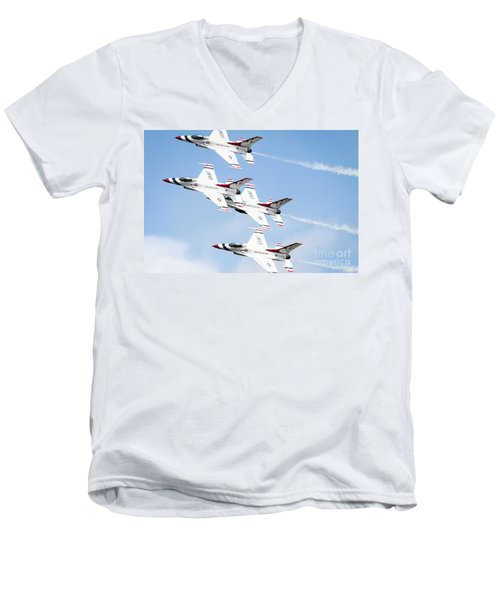 Usaf Thunderbirds Men's V-Neck T-Shirt by Lawrence Burry
