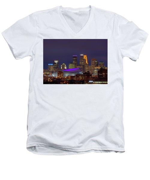 Usbank Stadium Dressed In Purple Men's V-Neck T-Shirt