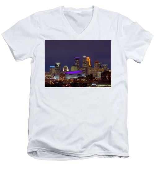 Usbank Stadium Dressed In Purple Men's V-Neck T-Shirt