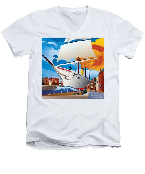 Uss Annapolis In Ego Alley Men's V-Neck T-Shirt