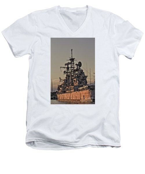 Men's V-Neck T-Shirt featuring the photograph U.s.s Little Rock by Jim Lepard