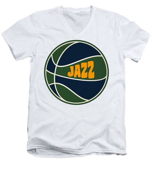 Men's V-Neck T-Shirt featuring the photograph Utah Jazz Retro Shirt by Joe Hamilton