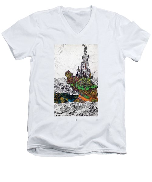 V Ogh 8 Men's V-Neck T-Shirt by Stan  Magnan