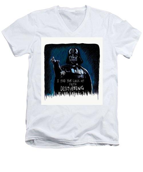 Men's V-Neck T-Shirt featuring the digital art Vader by Antonio Romero
