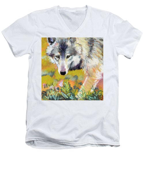 Men's V-Neck T-Shirt featuring the pastel Vagabond by Pattie Wall