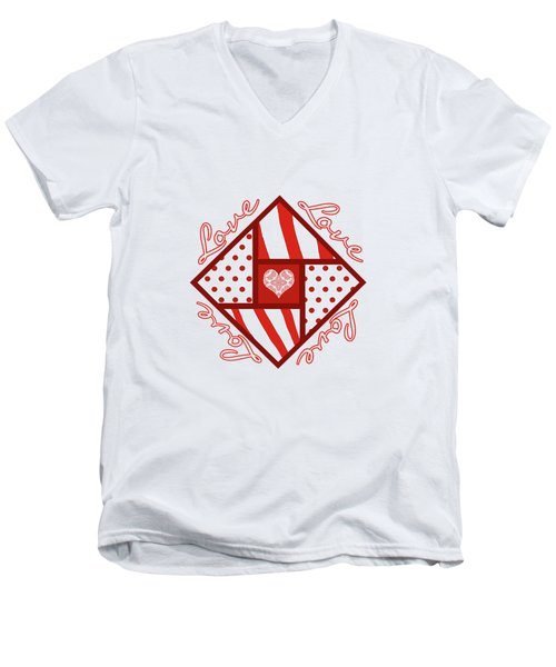Men's V-Neck T-Shirt featuring the digital art Valentine 4 Square Quilt Block by Methune Hively