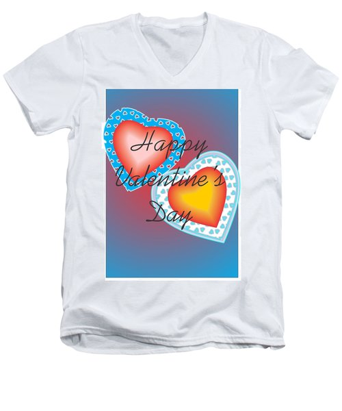 Men's V-Neck T-Shirt featuring the painting Valentine Lace by Sherril Porter
