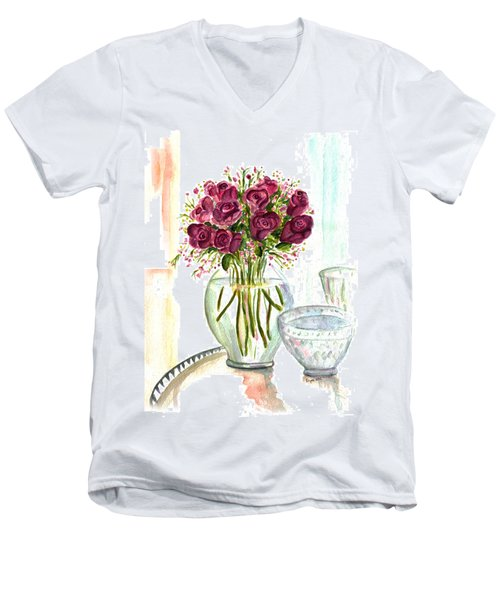 Valentines Crystal Rose Men's V-Neck T-Shirt