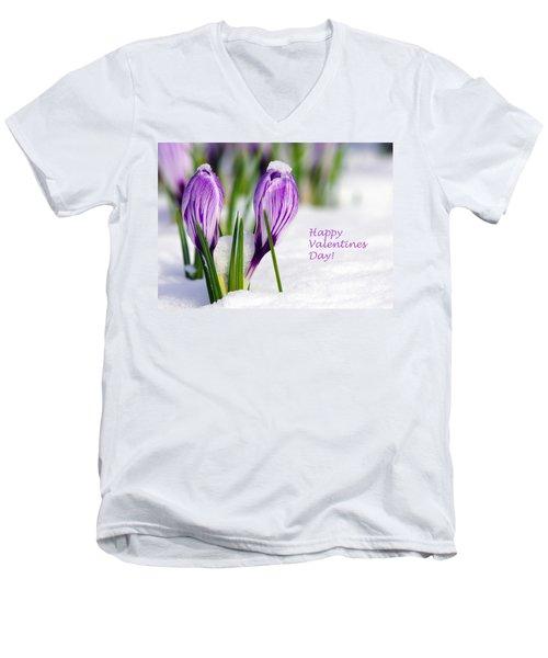 Valentines Day Crocuses Men's V-Neck T-Shirt