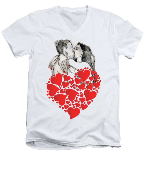 Men's V-Neck T-Shirt featuring the painting Valentine's Kiss - Valentine's Day by Carolyn Weltman