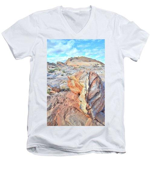Valley Of Fire Alien Boulder Men's V-Neck T-Shirt by Ray Mathis