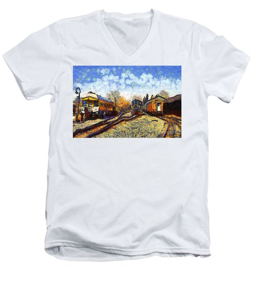 Van Gogh.s Train Station 7d11513 Men's V-Neck T-Shirt