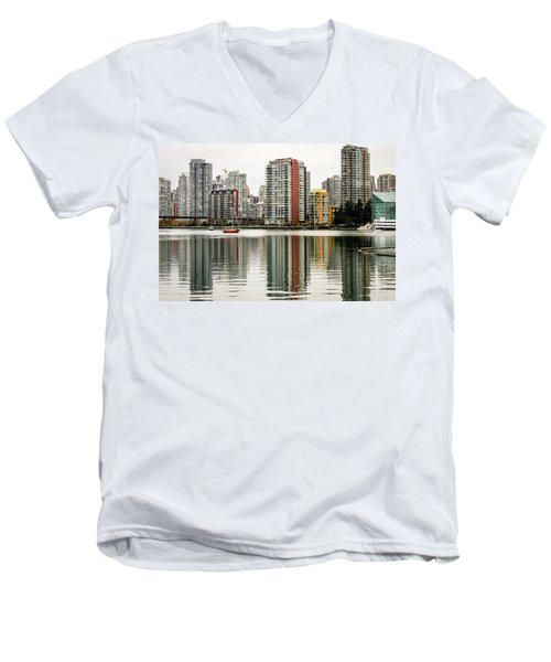 Vancouver Bc Sky Line Men's V-Neck T-Shirt by Menachem Ganon
