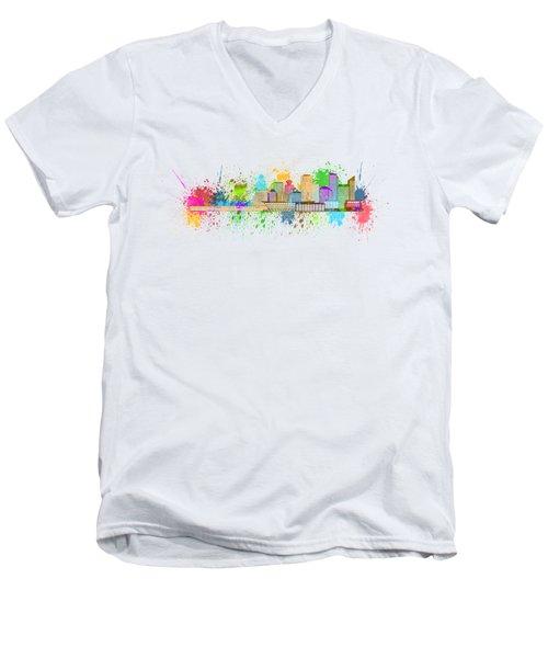 Vancouver Bc Skyline Paint Splatter Illustration Men's V-Neck T-Shirt