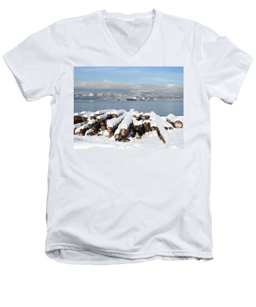 Vancouver Winter Men's V-Neck T-Shirt by Brian Chase