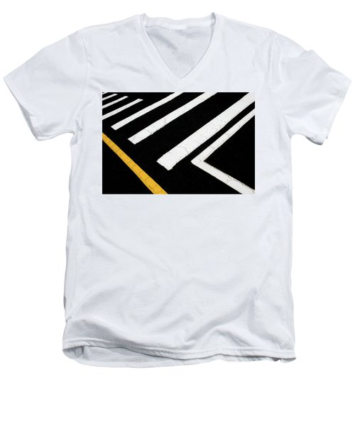 Men's V-Neck T-Shirt featuring the photograph Vanishing Traffic Lines With Colorful Edge by Gary Slawsky
