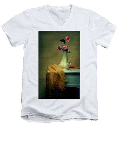 Vase Of Pink Roses Men's V-Neck T-Shirt