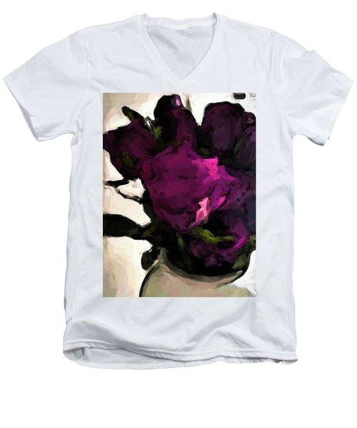 Vase Of Roses With Shadows 1 Men's V-Neck T-Shirt
