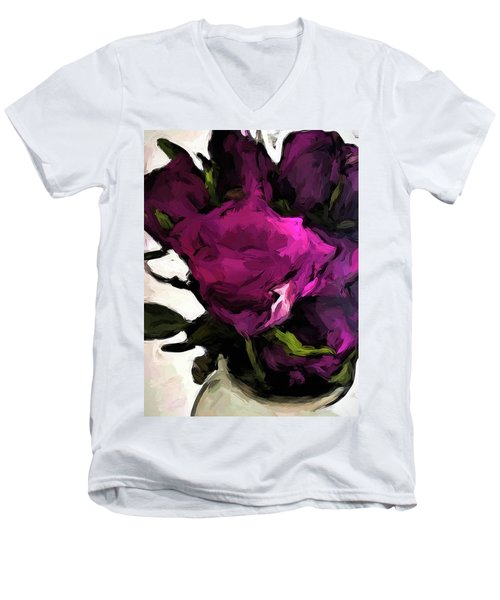 Vase Of Roses With Shadows 2 Men's V-Neck T-Shirt