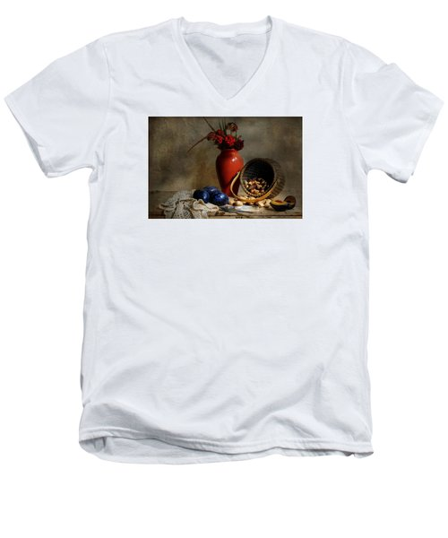 Vase With Basket Of Walnuts Men's V-Neck T-Shirt by Diana Angstadt