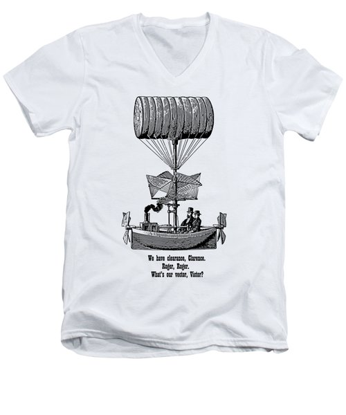 Vector Victor Vintage Airship Men's V-Neck T-Shirt by Barbara St Jean