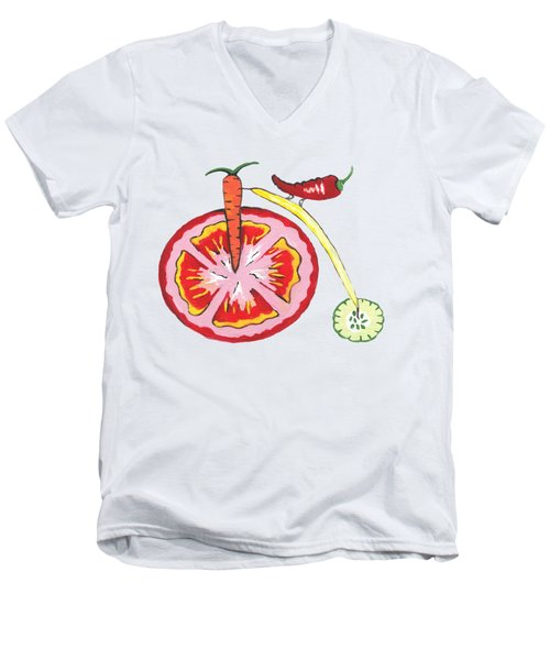 Veggie Bike Men's V-Neck T-Shirt by Kathleen Sartoris