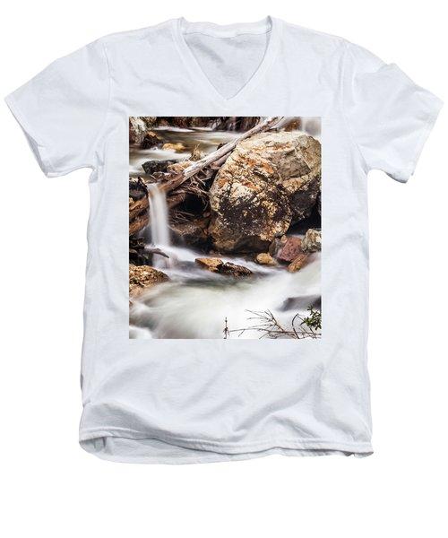 Velvet Falls - Rocky Mountain Stream Men's V-Neck T-Shirt