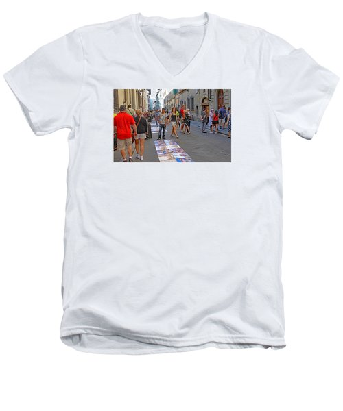 Vendors Selling Reproductions On The Street Men's V-Neck T-Shirt by Allan Levin