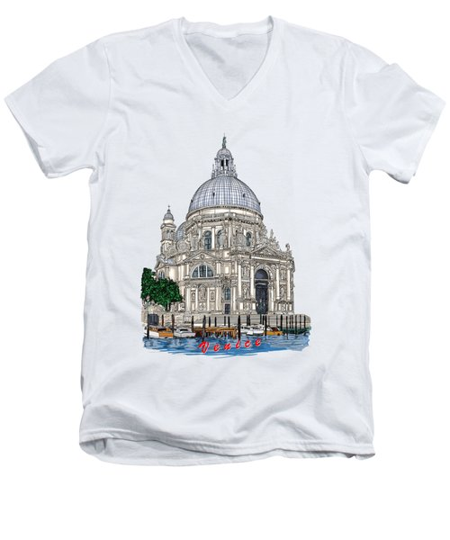 Men's V-Neck T-Shirt featuring the drawing Venice  by Andrzej Szczerski