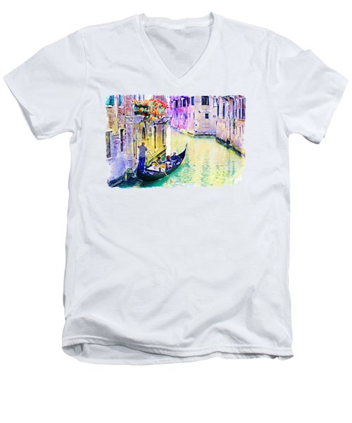 Venice Canal Men's V-Neck T-Shirt by Marian Voicu