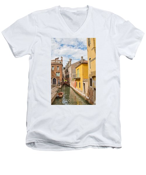Men's V-Neck T-Shirt featuring the photograph Venice Canal by Sharon Jones