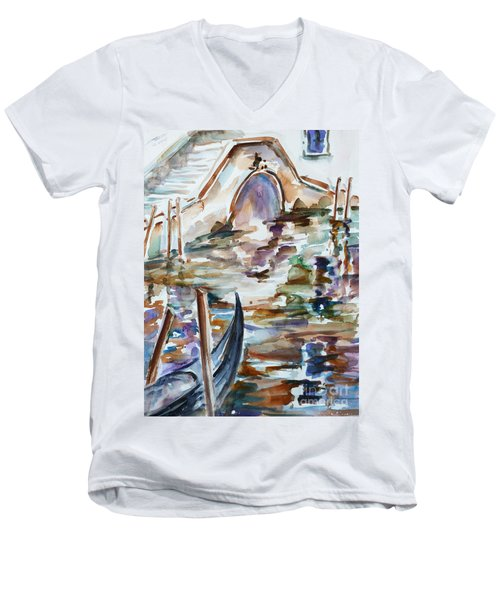 Men's V-Neck T-Shirt featuring the painting Venice Impression I by Xueling Zou