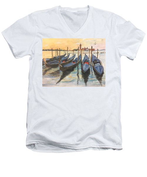 Men's V-Neck T-Shirt featuring the painting Venice by Lucia Grilletto