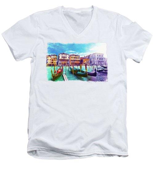 Venice Men's V-Neck T-Shirt by Marian Voicu