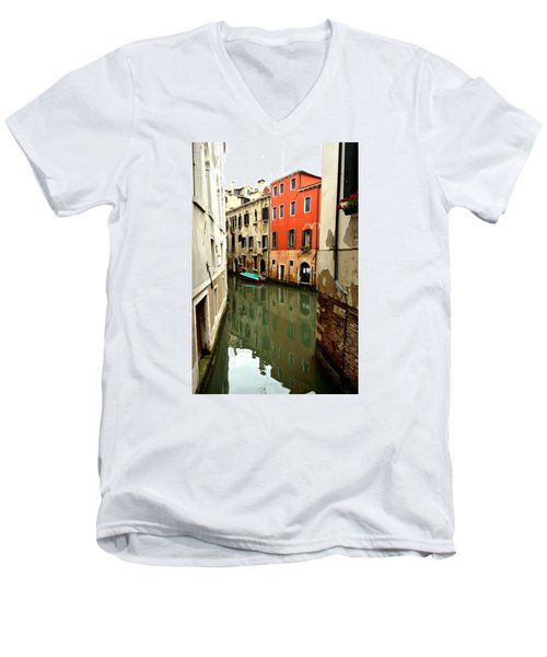 Men's V-Neck T-Shirt featuring the photograph Venice Street Scene 3 by Richard Ortolano