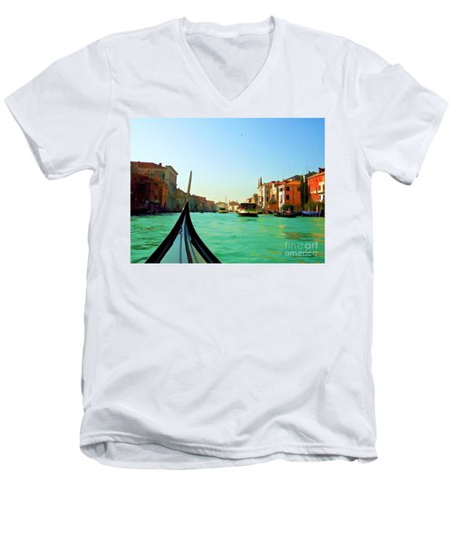 Men's V-Neck T-Shirt featuring the photograph Venice Waterway by Roberta Byram