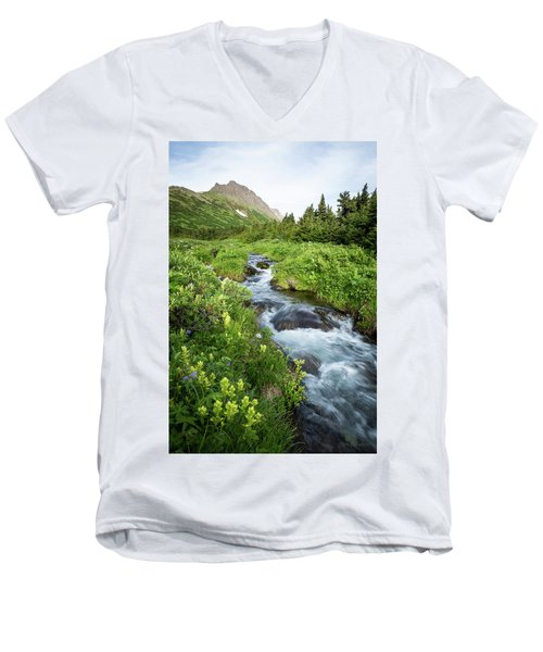 Verdant Mountain Stream Men's V-Neck T-Shirt
