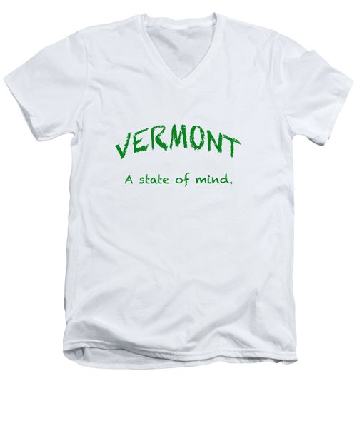 Vermont, A State Of Mind Men's V-Neck T-Shirt by George Robinson