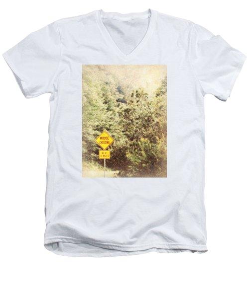 Vermont In Winter Men's V-Neck T-Shirt by Robin Regan