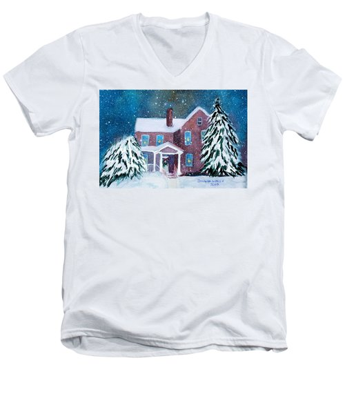 Men's V-Neck T-Shirt featuring the painting Vermont Studio Center In Winter by Donna Walsh