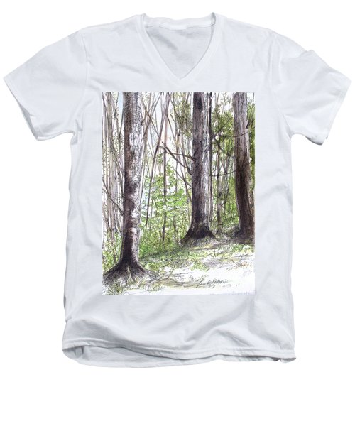 Men's V-Neck T-Shirt featuring the painting Vermont Woods by Laurie Rohner