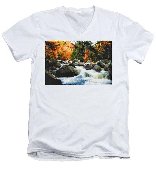 Vermonts Fall Color Rapids Men's V-Neck T-Shirt