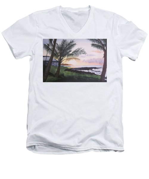 Men's V-Neck T-Shirt featuring the painting Version 2 by Teresa Beyer