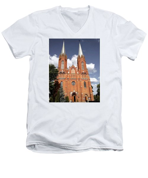 Very Old Church In Odrzywol, Poland Men's V-Neck T-Shirt by Arletta Cwalina
