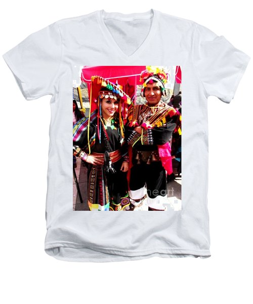 Very Proud Bolivian Dancers Men's V-Neck T-Shirt